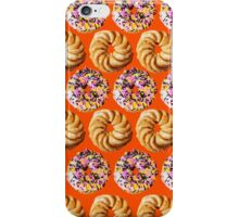 Sprinkle donuts and honey crullers on a bright orange background iPhone Case/Skin