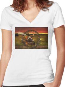 Steampunk - The gentleman's monowheel Women's Fitted V-Neck T-Shirt