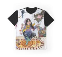Knitting Witch Watercolor Painting Graphic T-Shirt