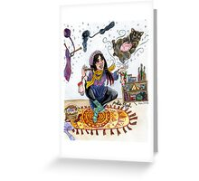 Knitting Witch Watercolor Painting Greeting Card