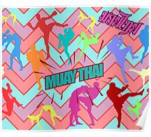 muay thai boxing pattern sign board thailand martial art Poster