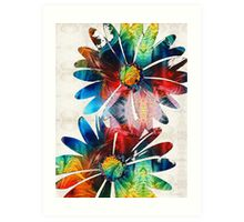 Colorful Daisy Art - Hip Daisies - By Sharon Cummings Art Print
