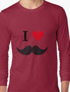 I love mustache with red heart Long Sleeve T-Shirt