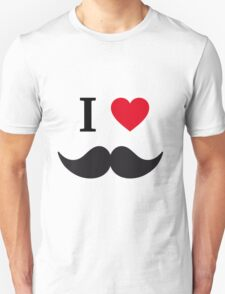 I love mustache with red heart Unisex T-Shirt