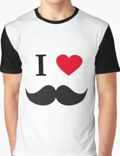 I love mustache with red heart Graphic T-Shirt
