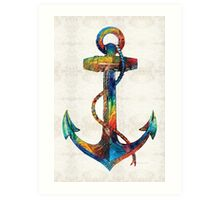 Nautical Anchor Art - Anchors Aweigh - By Sharon Cummings  Art Print