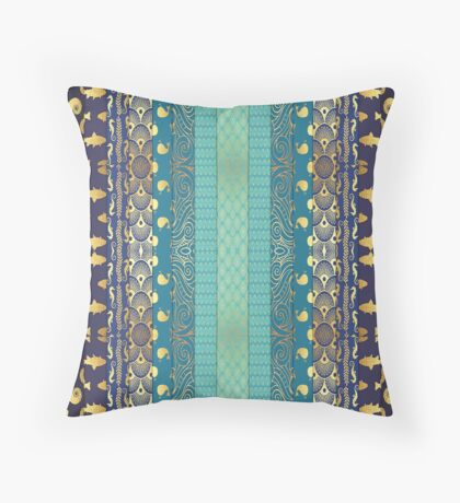 Pattern, Floral, Stripes, Geometric, Turquoise/Gold Throw Pillow