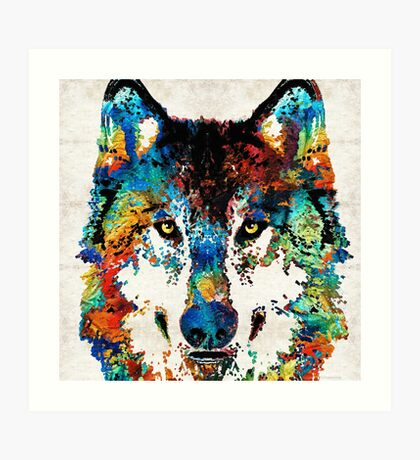 Wolf Art Print - Hungry - By Sharon Cummings Art Print