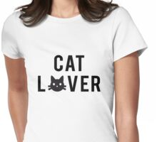 Cat lover, word art, text design with black cat head Womens Fitted T-Shirt