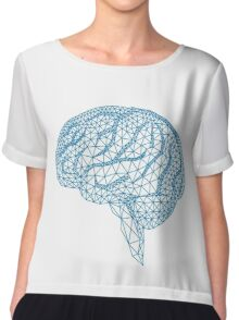 blue human brain with geometric mesh pattern Chiffon Top