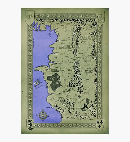 Witcher map done in Ink - COLOR Photographic Print