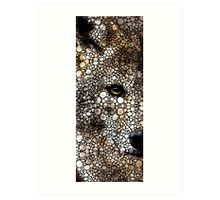 Stone Rock'd Wolf Art by Sharon Cummings Art Print
