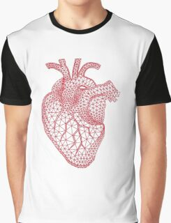red human heart with geometric mesh pattern Graphic T-Shirt