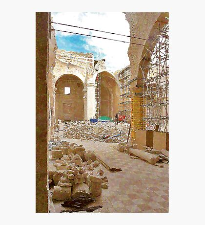 L'Aquila: collapsed church with rubble Photographic Print