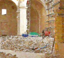 L'Aquila: collapsed church with rubble Sticker