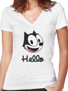 The cat named felix Women's Fitted V-Neck T-Shirt