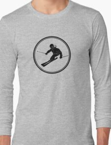 Mens Snow Skiing Long Sleeve T-Shirt