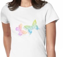 colorful abstract butterflies with shadow Womens Fitted T-Shirt