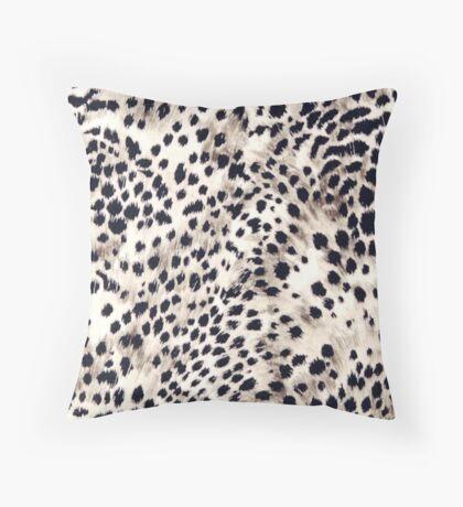 Fabric Art, Faux Animal Fur, Snow Leopard Print Throw Pillow