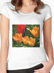 Tulips in Orange and Red Women's Fitted Scoop T-Shirt