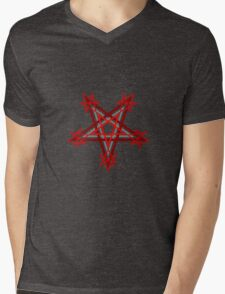 Red Pentagram Mens V-Neck T-Shirt