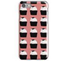 chocolate cupcakes with vanilla icing on a pink background iPhone Case/Skin