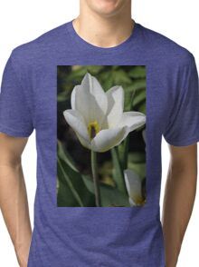 An Open White Tulip Tri-blend T-Shirt