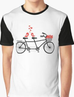 tandem bicycle with cute love birds Graphic T-Shirt