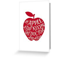 red apple with word art Greeting Card