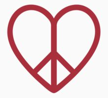 Love and peace, red heart with peace sign Kids Tee