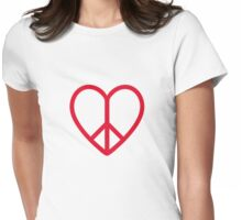 Love and peace, red heart with peace sign Womens Fitted T-Shirt