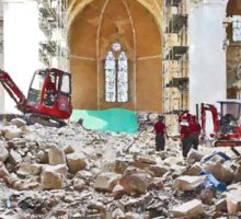L'Aquila: collapsed church with digger wheelbarrow and rubble Sticker
