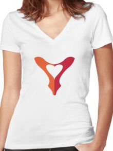 shoe love, red shoe heart Women's Fitted V-Neck T-Shirt