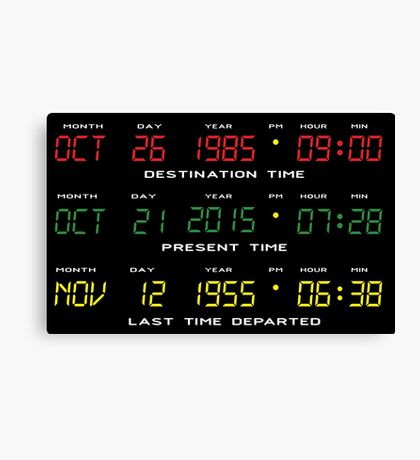 BTTF - Back To The Future - Time Travel Display Dashboard Canvas Print