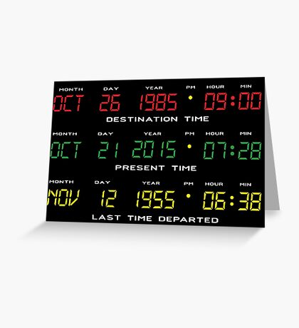 BTTF - Back To The Future - Time Travel Display Dashboard Greeting Card