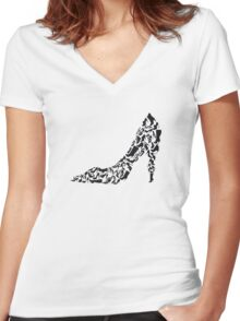Stiletto with different shoe silhouettes Women's Fitted V-Neck T-Shirt