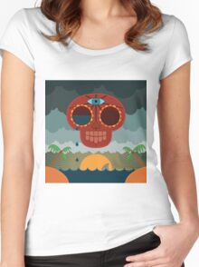 Sugar Skull Storm God Women's Fitted Scoop T-Shirt