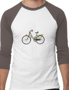Old vintage bicycle with flowers and birds Men's Baseball ¾ T-Shirt