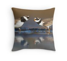 Mating plovers Throw Pillow