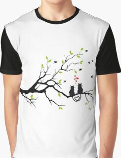 Cats in love with red hearts on spring tree Graphic T-Shirt