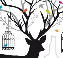 Deer with birds and birdcages Sticker