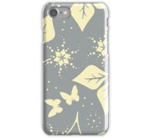 Beautiful pattern with leaves,  flowers and butterflies iPhone Case/Skin