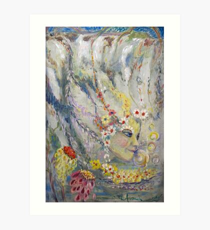The Lady in the Waterfall Art Print