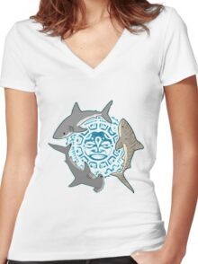 Shark cicle Women's Fitted V-Neck T-Shirt