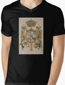 'Book Plate of Alphons XIII' by Alexandre de Riquer (Reproduction) Mens V-Neck T-Shirt