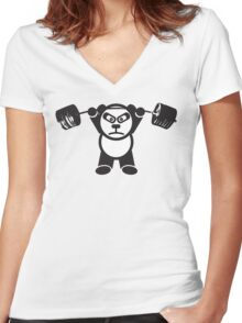 Cute Weightlifting Panda Bear (Overhead Press) Women's Fitted V-Neck T-Shirt