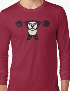 Cute Weightlifting Panda Bear (Overhead Press) Long Sleeve T-Shirt