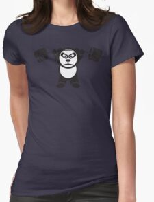 Cute Weightlifting Panda Bear (Overhead Press) Womens Fitted T-Shirt