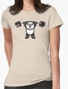 Cute Weightlifting Panda Bear (Overhead Press) Womens Fitted T-Shirt