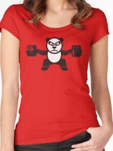 Cute Weightlifting Panda Bear (Squat) Women's Fitted Scoop T-Shirt